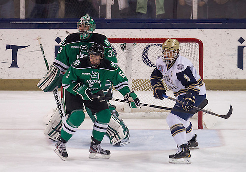 November 23, 2012:  during NCAA Hockey game action between the Notre Dame Fighting Irish and the North Dakota Fighting Sioux at Compton Family Ice Arena in South Bend, Indiana.  North Dakota defeated Notre Dame 2-1.