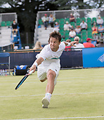 June 13th 2017, Nottingham, England; ATP Aegon Nottingham Open Tennis Tournament day 4;  Ricardas Berankis of Lithuania in action as he defeats Tobias Kamke of Germany in three sets