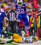 14 December 2014: Buffalo Bills running back Fred Jackson jumps over Green Bay Packers free safety Ha Ha Clinton-Dix after taking a screen pass for a 20-yard gain in the fourth quarter at Ralph Wilson Stadium in Orchard Park, NY. The Bills defeated the Packers 21-13, snapping the Packers' 5-game winning streak and keeping the Bills' 2014 playoff hopes alive. Mandatory Credit: Ed Wolfstein Photo *** RAW (NEF) Image File Available ***
