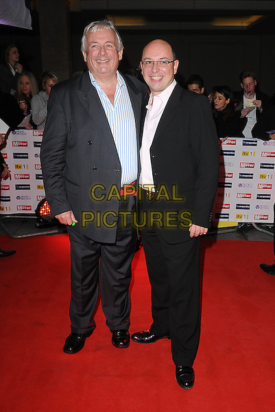 CHRISTOPHER BIGGINS & NEIL TWIMAPS.The Pride of Britain Awards, Grosvenor House, Hotel, Park lane, London, England. .full length grey gray suit blue pinstripe shirt couple partner black glasses .CAP/BEL.©Tom Belcher/Capital Pictures.