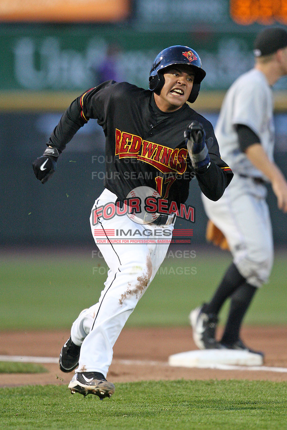 Rochester Red Wings catcher Jose Morales rounds third base during a game vs. the Louisville Bats Friday, May 14, 2010 at Frontier Field in Rochester, New York.   Rochester defeated Louisville by the score of 13-4.  Photo By Mike Janes/Four Seam Images