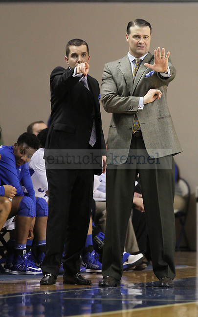 Kentucky Wildcats head coach Matthew Mitchell and his assistant call out a defensive strategy to their team. in Lexington, Ky., on Thursday, January, 3, 2013. Photo by James Holt | Staff