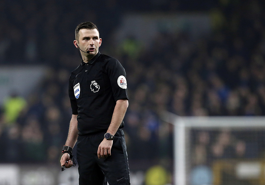 Referee Michael Oliver<br /> <br /> Photographer Rich Linley/CameraSport<br /> <br /> The Premier League - Burnley v Everton - Wednesday 26th December 2018 - Turf Moor - Burnley<br /> <br /> World Copyright © 2018 CameraSport. All rights reserved. 43 Linden Ave. Countesthorpe. Leicester. England. LE8 5PG - Tel: +44 (0) 116 277 4147 - admin@camerasport.com - www.camerasport.com