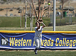 Wildcat Niki DiSera makes a catch for Western Nevada College against Salt Lake Community College on April 1, 2011, at Edmonds Field in Carson City, Nev.  .Photo by Cathleen Allison