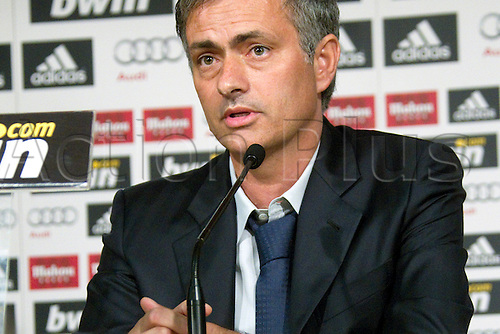 MADRID, SPAIN - MAY 31: Real Madrid's new coach Jose Mourinho during a press conference at Estadio Santiago Bernabeu on May 31, 2010 in Madrid, Spain.