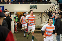 Ealing Trailfinders players come out for their match against London Scottish during the Greene King IPA Championship match between London Scottish Football Club and Ealing Trailfinders at Richmond Athletic Ground, Richmond, United Kingdom on 26 December 2015. Photo by Alan  Stanford / PRiME Media Images
