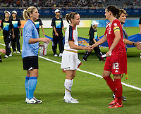Hope Solo, Christie Rampone, Christine Sinclair. The USWNT defeated Canada in extra time, 2-1, during the 2008 Beijing Olympics in Shanghai, China.