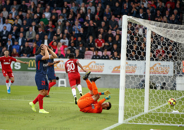 08.08.2019 FC Midtjylland v Rangers: Erik Sviatchenko with head in hands as Alfredo Morelos opens the scoring