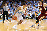 18 January 2014: North Carolina's Marcus Paige (5) and Boston College's Joe Rahon (25). The University of North Carolina Tar Heels played the Boston College Eagles in an NCAA Division I Men's basketball game at the Dean E. Smith Center in Chapel Hill, North Carolina. UNC won the game 82-71.