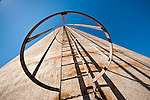 Manway up side of concrete grain elevator, Pine City, Wash.
