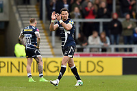 Mike Phillips of Sale Sharks acknowledges the crowd as he leaves the field in his final competitive match. Aviva Premiership match, between Sale Sharks and Bath Rugby on May 6, 2017 at the AJ Bell Stadium in Manchester, England. Photo by: Patrick Khachfe / Onside Images