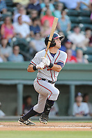 Connor Oliver (5) of the Rome Braves bats in a game against the Greenville Drive on Friday, June 12, 2015, at Fluor Field at the West End in Greenville, South Carolina. Greenville won, 10-8. (Tom Priddy/Four Seam Images)