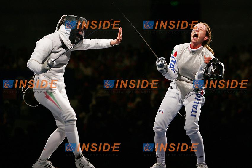 esultanza di Valentina Vezzali per la medaglia di bgronzo.<br /> Fencing Hall - Scherma <br /> Pechino - Beijing 16/8/2008 Olimpiadi 2008 Olympic Games <br /> Foto Andrea Staccioli Insidefoto