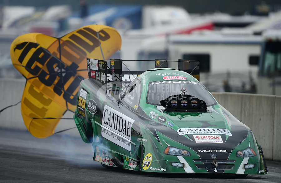 Oct. 6, 2012; Mohnton, PA, USA: NHRA funny car driver Todd Lesenko during qualifying for the Auto Plus Nationals at Maple Grove Raceway. Mandatory Credit: Mark J. Rebilas-