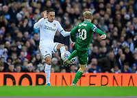 Leeds United's Helder Costa vies for possession with Sheffield Wednesday's Barry Bannan<br /> <br /> Photographer Chris Vaughan/CameraSport<br /> <br /> The EFL Sky Bet Championship - Leeds United v Sheffield Wednesday - Saturday 11th January 2020 - Elland Road - Leeds<br /> <br /> World Copyright © 2020 CameraSport. All rights reserved. 43 Linden Ave. Countesthorpe. Leicester. England. LE8 5PG - Tel: +44 (0) 116 277 4147 - admin@camerasport.com - www.camerasport.com
