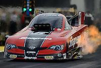 Sept. 28, 2012; Madison, IL, USA: NHRA funny car driver Cruz Pedregon during qualifying for the Midwest Nationals at Gateway Motorsports Park. Mandatory Credit: Mark J. Rebilas-