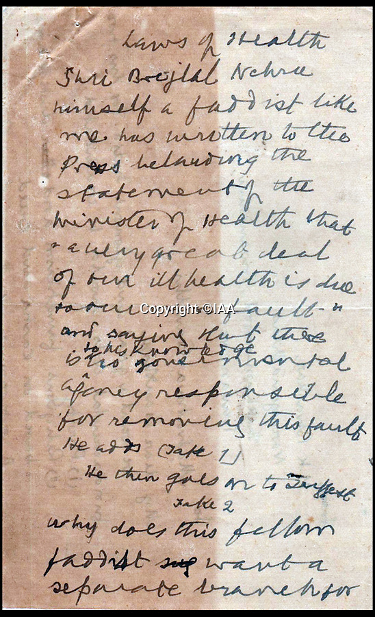 BNPS.co.uk (01202 558833)<br /> Pic:  IAA/BNPS<br /> <br /> Ghandi ignored the warnings in the letter sent to him, instead writing manuscripts on the back about the country's health crisis.<br /> <br /> A foreboding manuscript sent to Gandhi warning him of the dangers of religious fanatics six weeks before he was assassinated has emerged for sale for £20,000.<br /> <br /> One of the Independance movement leader's followers wrote to him on December 21, 1947, to express his fears about the 'fundamental evil of religious fanaticism'.<br /> <br /> But it appears Gandhi did not heed his concerns as he discarded the letter, turning it over to write a manuscript about the country's health crisis on the back.<br /> <br /> On January 30, 1948, he was murdered by Hindu nationalist Nathuram Godse who fired three bullets into his chest in the garden of Birla House in Delhi was he walked to a prayer meeting.