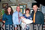Baby Fionn Garvey  with hi sparents Colm & Mairead Garvey, Liselton & Cork  & god parents Ros O'Brien & Martin Behan who was christened at Balydonoghue Church by Fr. Sean Linnane on Saturday  last and afterwards at Behan's Horseshoe Restaurant, Listowel.