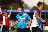 Woking manager Alan Dowson celebrates promotion at the end of the match, during Woking vs Welling United, Vanarama National League South Promotion Play-Off Final Football at The Laithwaite Community Stadium on 12th May 2019