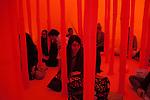 "Inside of Ernesto Neto's sculpture yurt called ""Kink"" in Brooklyn."