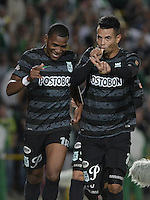 BOGOTÁ -COLOMBIA, 01-09-2014. Edwin Cardona (Der) jugador de Atlético Nacional celebra un gol en contra de La Equidad durante partido por la fecha 7 de la Liga Postobón II 2014 jugado en el estadio Nemesio Camacho El Campin de la ciudad de Bogotá./ Edwin Cardona (R) of Atletico Nacional celebrates a goal  against  La Equidad during match for the 7th date of the Postobon League II 2014 played atNemesio Camacho El Campin stadium in Bogotá city. Photo: VizzorImage/ Gabriel Aponte / Staff