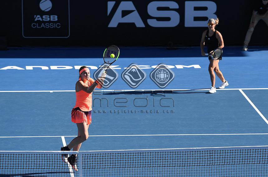 Doubles pair of Jelena Ostapenko (L) and Kirsten Flipkens at the ASB Classic. WTA Womens Tournament. ASB Tennis Centre, Auckland, New Zealand. Thursday 5 January 2017. © Copyright photo: Andrew Cornaga / www.photosport.nz