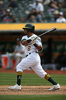OAKLAND, CA - APRIL 18:  Khris Davis #2 of the Oakland Athletics bats against the Chicago White Sox during the game at the Oakland Coliseum on Wednesday, April 18, 2018 in Oakland, California. (Photo by Brad Mangin)