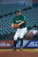 Miami Hurricanes starting pitcher Jesse Lepore (55) in action against the North Carolina Tar Heels in the second semifinal of the 2017 ACC Baseball Championship at Louisville Slugger Field on May 27, 2017 in Louisville, Kentucky. The Tar Heels defeated the Hurricanes 12-4. (Brian Westerholt/Four Seam Images)