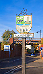 Town street and sign for Saxmundham, Suffolk, England