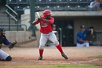 Orem Owlz left fielder Johan Sala (25) at bat during a Pioneer League game against the Missoula Osprey at Ogren Park Allegiance Field on August 19, 2018 in Missoula, Montana. The Missoula Osprey defeated the Orem Owlz by a score of 8-0. (Zachary Lucy/Four Seam Images)