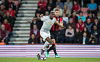 Paul Pogba of Man Utd & Simon Francis of AFC Bournemouth during the Premier League match between Bournemouth and Manchester United at the Goldsands Stadium, Bournemouth, England on 18 April 2018. Photo by Andy Rowland.