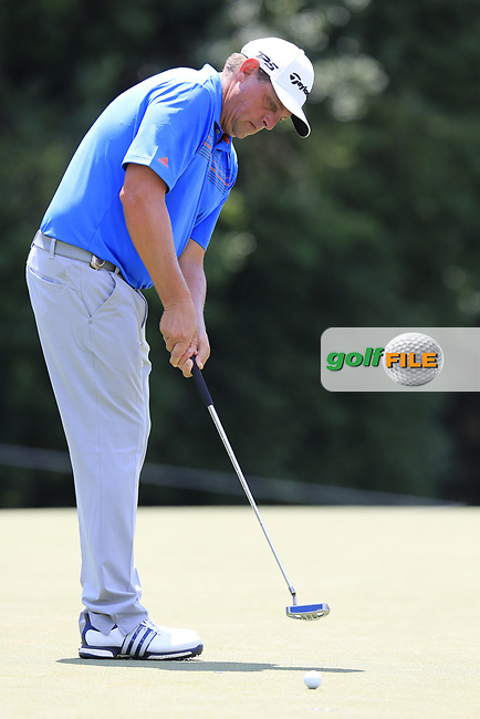 Rod Perry (USA) putts on the 13th green during Thursday's Round 1 of the 2017 PGA Championship held at Quail Hollow Golf Club, Charlotte, North Carolina, USA. 10th August 2017.<br /> Picture: Eoin Clarke | Golffile<br /> <br /> <br /> All photos usage must carry mandatory copyright credit (&copy; Golffile | Eoin Clarke)