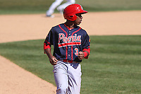 Peoria Chiefs second baseman Darren Seferina (3) during a game against the Wisconsin Timber Rattlers on April 25th, 2015 at Fox Cities Stadium in Appleton, Wisconsin.  Wisconsin defeated Peoria 2-0.  (Brad Krause/Four Seam Images)