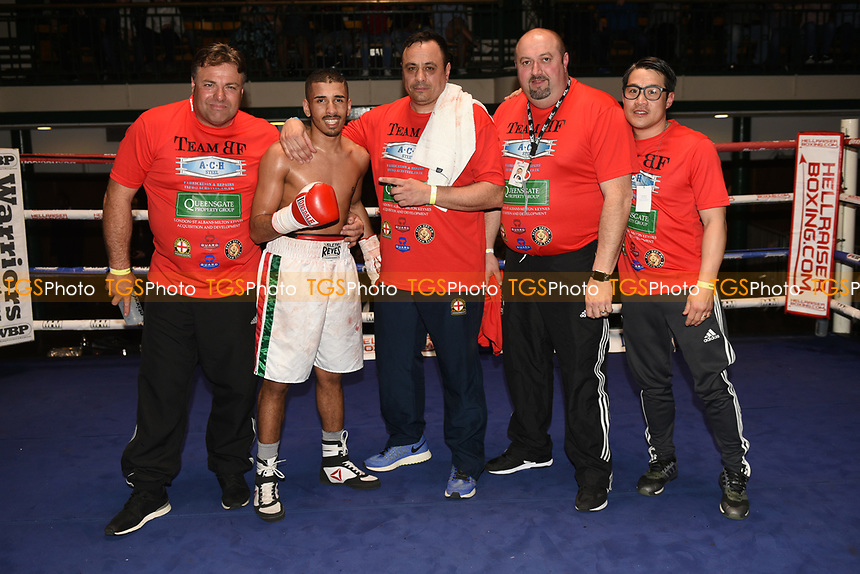 Fateh Benko (white shorts) defeats Antonio Horvatic during a Boxing Show at York Hall on 8th April 2017