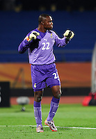 Goalkeeper Richard Kingson celebrates. Ghana defeated the USA 2-1 in overtime in the 2010 FIFA World Cup at Royal Bafokeng Stadium in Rustenburg, South Africa on June 26, 2010.