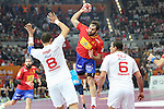 handball wordl cup match between Spain vs Tunisia. cañellas . 2015/01/25. Doha. Qatar. Alberto de Isidro.Photocall 3000