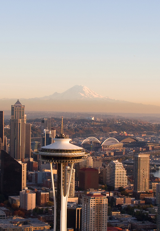 Seattle, Mount Rainier, Space Needle, Aerial, Business District, Port of Seattle, Washington State, Pacific Northwest, United States,