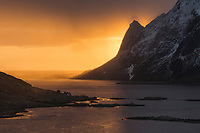 Winter sunrise over Reine and Reinefjord, Vindstad, Moskenesøy, Lofoten Islands, Norway