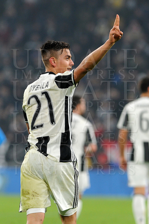 Calcio, semifinale di andata di Tim Cup: Juventus vs Napoli. Torino, Juventus Stadium, 28 febbraio 2017.<br /> Juventus' Paulo Dybala celebrates after scoring his second goal on a penalty kick during the Italian Cup semifinal first leg football match between Juventus and Napoli at Turin's Juventus stadium, 28 February 2017.<br /> UPDATE IMAGES PRESS/Manuela Viganti