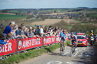 48th Amstel Gold Race 2013..Johan Vansummeren (BEL) & Alexandr Pliuschin (RUS) up the Gulperberg heaving lost the wheel of race leader Mikel Astarloza (ESP) ahead