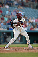 Frisco RoughRiders Juremi Profar (13) bats during a Texas League game against the Amarillo Sod Poodles on May 16, 2019 at Dr Pepper Ballpark in Frisco, Texas.  (Mike Augustin/Four Seam Images)