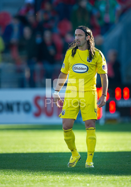 October 16 2010  Columbus Crew defender Gino Padula #4 in action during a game between the Columbus Crew and Toronto FC at BMO Field in Toronto..The final score was a 2-2 draw.