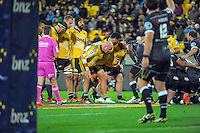 A scrum sets during the Super Rugby match between the Hurricanes and Sharks at Westpac Stadium, Wellington, New Zealand on Saturday, 9 May 2015. Photo: Dave Lintott / lintottphoto.co.nz