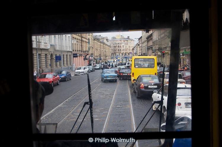Traffic seen from a tram window in Lviv.