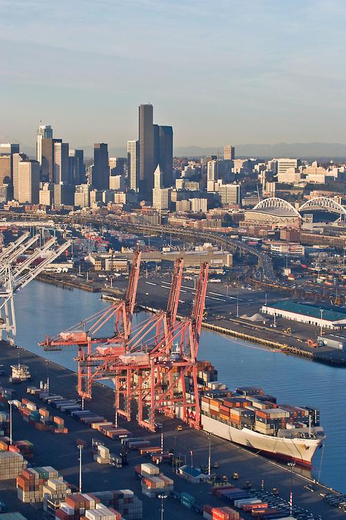 Seattle, skyline, aerial, container ship, Port of Seattle, East Waterway, Elliott Bay, Puget Sound, Washington State, Pacific Northwest,