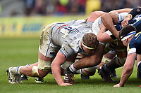 Tom Ellis of Bath Rugby in action at a scrum. Aviva Premiership match, between Sale Sharks and Bath Rugby on May 6, 2017 at the AJ Bell Stadium in Manchester, England. Photo by: Patrick Khachfe / Onside Images