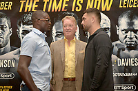Ohara Davies (L), Frank Warren and Jack Catterall during a Press Conference at the Landmark London Hotel on 2nd August 2018
