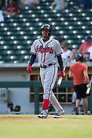 Peoria Javelinas center fielder Cristian Pache (27), of the Atlanta Braves organization, during an Arizona Fall League game against the Mesa Solar Sox at Sloan Park on October 11, 2018 in Mesa, Arizona. Mesa defeated Peoria 10-9. (Zachary Lucy/Four Seam Images)