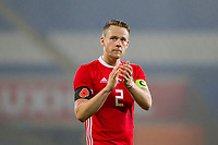 Temporary captain Chris Gunter of Wales claps the fans at full time of the International Friendly match between Wales and Panama at the Cardiff City Stadium, Cardiff, Wales on 14 November 2017. Photo by Mark Hawkins.