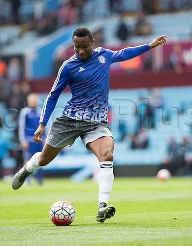 02.04.2016. Villa Park, Birmingham, England. Barclays Premier League. Aston Villa versus Chelsea.  Chelsea midfielder John Mikel Obi warming up with the ball before the match.
